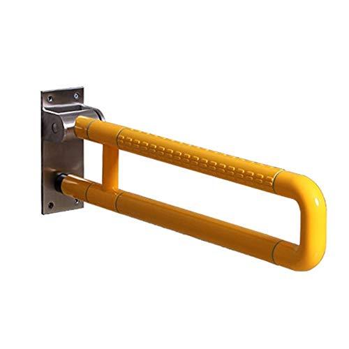 Veiligheidsbeugel voor badkamer, roestvrij staal, antislip leuning, met rolstoel, hygiënische leuning, senioren, veiligheidsleuning, opvouwbaar, wit, geel, 60 cm, 7 stuks