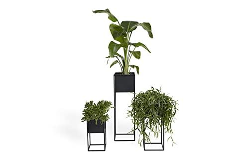 LIFA LIVING Eckige Pflanzenständer im 3er Set, Moderne Blumenständer aus schwarzem Metall für...