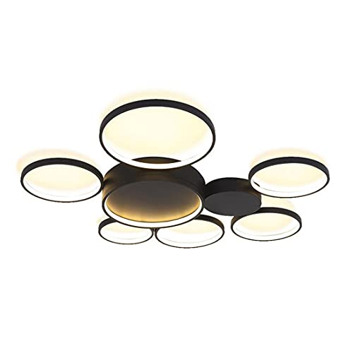 Regulable LED lámpara de techo sala de estar moderno negro redondo anillo creativo diseño de metal lámpara de araña plafón con control remoto brillo ajustable lámpara colgante para dormitorio Ø81cm