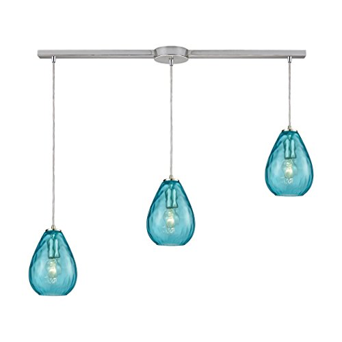 "StarSun Depot Lagoon 3-Light Linear Mini Pendant Fixture in Satin Nickel with Aqua Water Glass, 36"" W x 36"" De x 9"" H, Silver"