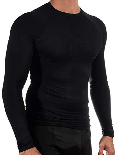 13MW Camiseta Térmica Profesional | Hombre | Tejido Reforzado | Transpirable (Negro, M-L)