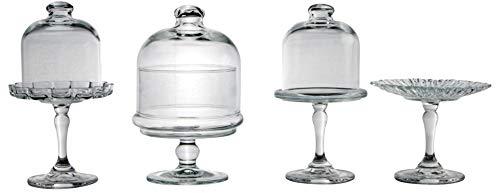 Creatable, 17884, Serie Patisserie, Mini Set 4 teilig Tortenplatten, 4tlg, Glas, transparent, 32,5x23,5x22,5