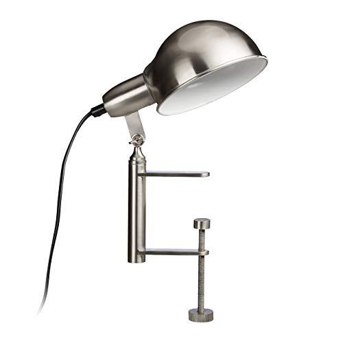 Relaxdays klemlamp, grijze tafellamp met schroefklem, klemlamp E27, nikkel mat, HBT: 27 x 15 x 22,5 cm, zilver