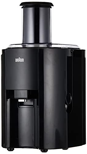 Braun J300 Spin Juicer extractor for whole fruit, citrus & vegetables 800 Watt, 2 speeds, anti splash spout, dishwasher safe parts- Premium Black