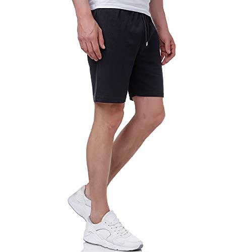 Smith & Solo Sporthose Herren Kurz - Kurze Hosen Herren, Laufshorts Männer Sommer Baumwolle Jogginghose Fitnesshose Sport Sportshorts Bermuda Shorts Hose Trainingshose Tennis (L, Schwarz)