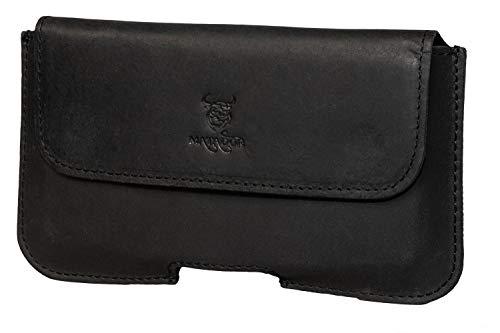 MATADOR Echt Leder Tasche für Huawei P20 / P20 LITE / P30 / P30 LITE Handytasche Gürteltasche Gürtelschlaufe Hülle Quertasche Schwarz verdecktem Magnetverschluß