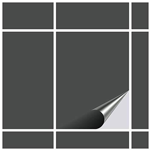 FoLIESEN Fliesenaufkleber 15x20 cm - Fliesen-Folie Bad - Klebefolie Küche - 60 Klebefliesen, Dunkelgrau matt