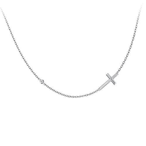 FANCIME 925 Sterling Silver Cubic Zirconia CZ Simulated Diamond Small Horizontal Sideway Crucifix Cross Pendant Necklace for Women Girls, 18' Silver Chain Adjustable