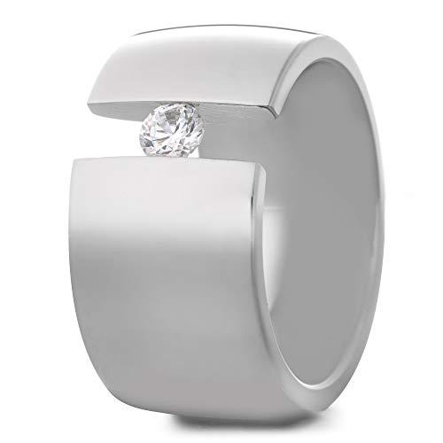 Heideman Ring Damen Elegantia Silber Farben poliert Damenring für Frauen mit Swarovski Zirkonia Kristall Weiss schwarz oder farbig im Brillantschliff Crystal Gr.64 hr1142-3-1-64