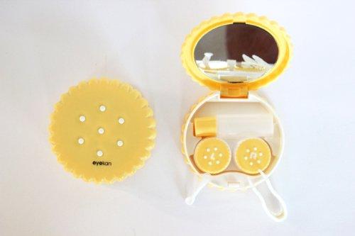 Kontaktlinsenbehälter Aufbewahrungsbehälter Etui Set Spiegel Motiv Keks Gelb NEU