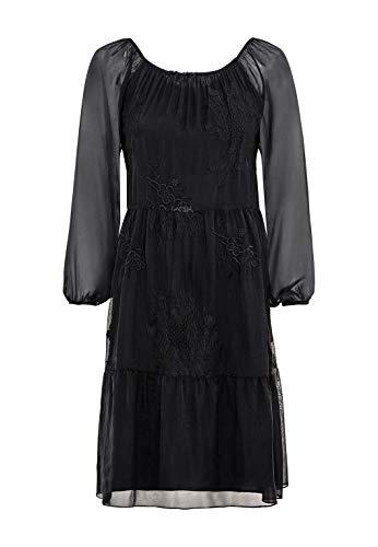 HALLHUBER Seidenkleid mit Carmenausschnitt weit geschnitten schwarz, 38