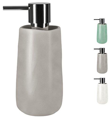 Spirella Seifenspender Sina mit Edelstahlpumpe Flüssigseifen-Spender Porzellan 350ml Langliebig und Robust Taupe