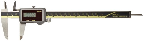 Mitutoyo 500-475 Digital Calipers, Solar Powered, Inch/Metric, for Inside, Outside, Depth and Step Measurements, Stainless Steel, 0'/0mm-8'/200mm Range, +/-0.001'/0.01mm Accuracy, 0.0005'/0.01mm Resolution