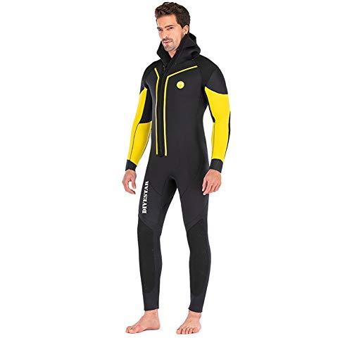 Huanxin Neoprenanzug Herren 7 Mm Neoprenwetsuit, Ganzkörper-Tauchanzug Front Zip Tauchen Wetsuit,M
