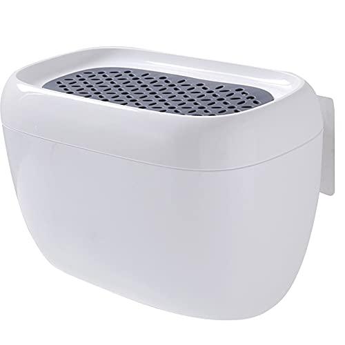 GYing Baño Caja de Pañuelos a Prueba de Agua Soporte de Plástico para Papel Higiénico Caja de Almacenamiento Montada en la Pared Organizador de Servilletas de Doble Capa CD (Color:Blanco)