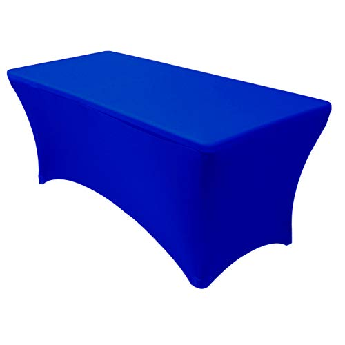 """Your Chair Covers - Stretch Spandex Table Cover for 6 Ft Rectangular Tables, 72"""" Length x 30"""" Width x 30"""" Height Fitted Tablecloth for Standard Folding Tables - Royal Blue"""