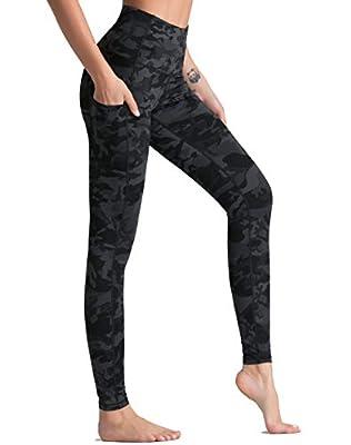 Dragon Fit High Waist Yoga Pants Capri with 3 Pockets,Tummy Control Workout Running Capri 4 Way Stretch Yoga Leggings (Small, Ankle58-Black&Grey Camo)