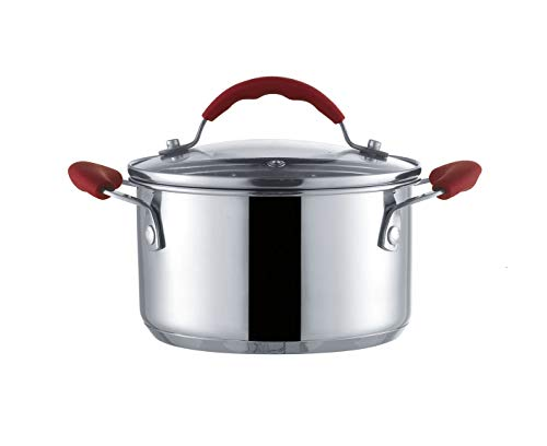AiNan stainless steel 8-Inch Soup pot,Silver stockpot With Lid,Double ear pot