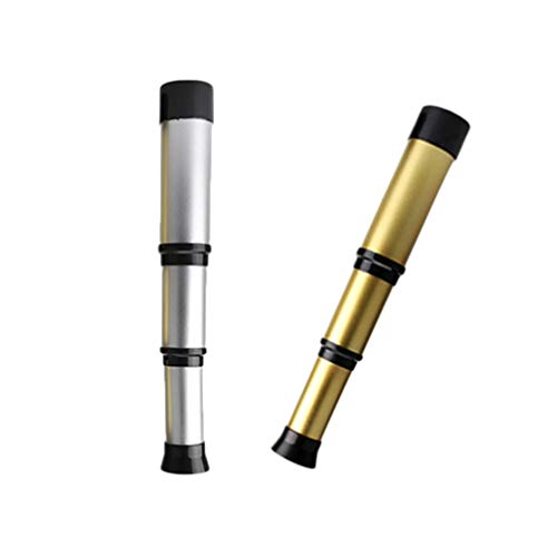 NUOBESTY 2pcs Pirate Monocular Telescope Retractable Handheld Telescope Portable Kids Educational Science Toys Spyglass for Travel Watching Games Hiking Hunting Golden Silver