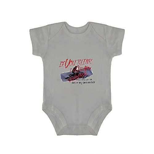VinMea Body de manga corta para bebé, divertido mono de manga corta, ropa de espera hasta que me veas en mi moto de nieve, otoño para bebés y niños (0-18 meses)