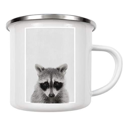 artboxONE Emaille Tasse Kleiner Waschbär von Boris Draschoff - Emaille Becher Natur