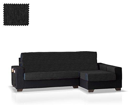 Funda de sofá Chaise Longue Larissa Brazo Derecho (Negro, pequeño - 200 Cm.)