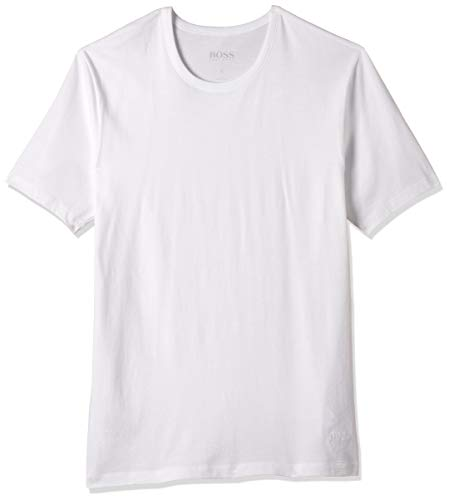 HUGO BOSS Men's 3-Pack Round Neck Regular Fit Short Sleeve T-Shirts, White, Medium