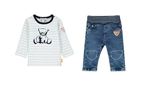 Steiff Set camiseta 1/1 manga, rayas y pantalones vaqueros, talla azul 68...