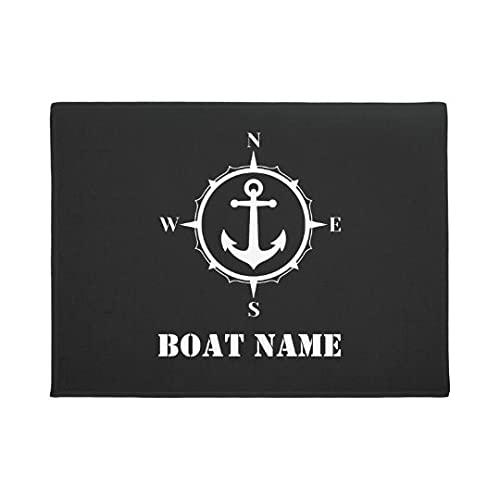 Nombre del Barco del Felpudo Impreso Personalizado en 3D Felpudo Nombre de tu Barco Brújula Anchor Negro Alfombrilla para Barco Alfombrilla de Bienvenida Alfombrilla para Puerta