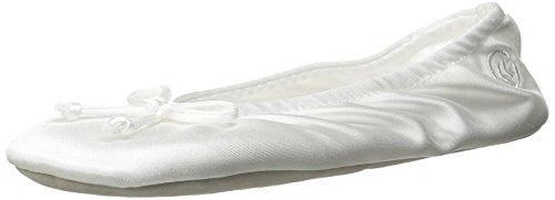 Isotoner - Pantofole da donna in raso con fiocco e suola in finta pelle scamosciata, Bianco (bianco), X-Large