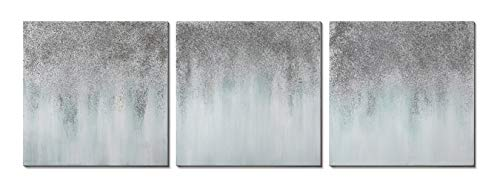 3Hdeko - Gray Abstract Canvas Wall Art Hand Painted Abstract...