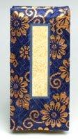 京仏壇はやし 仏具 過去帳 金襴 3.5寸 日付入り ( 紺 ) ◆縦 10.5cm 横 5.2cm 厚み 2.5cm