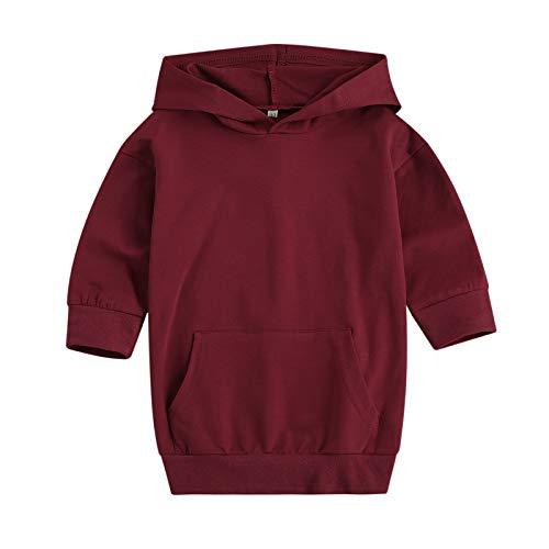 Sudadera con capucha para niñas pequeñas, de manga larga, de color sólido, con bolsillo, rojo vino, 2-3 Años