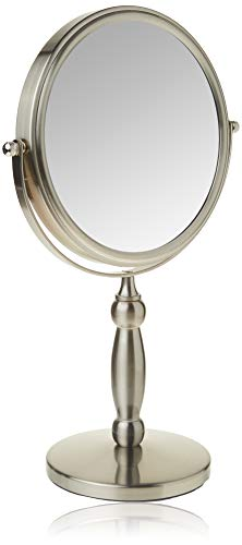 Floxite Dual sided 1x and 15x Vanity Mirror, Brushed Nickel
