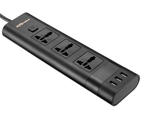 Portronics Power Plate II POR-671, 5A Electrical Universal Sockets and 3 USB Ports (Black)