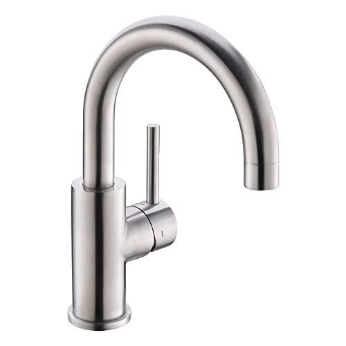 CREA Einhebelmischer Armatur Wasserhahn Küche oder Bad, Waschticharmatur Spültischarmatur 360° drehbar, Edelstahl matt gebürstet