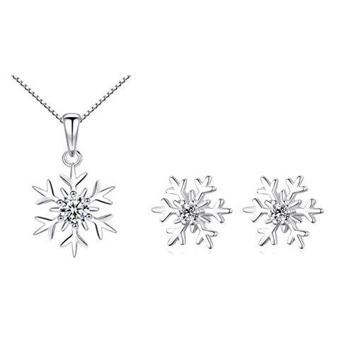 Zolkamery Silber Damen Schmuck Set, 925 Sterling Silber Schneeflocke Halskette Ohrringe Set, 10mm Ohrstecker Ohrringe mit AAAAA Zirkonia, Geschenk zum Weihnachten für Mutter Frau Freundin