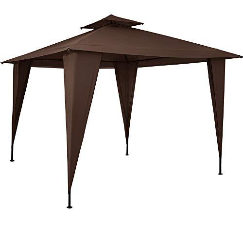Deuba Gazebo da Giardino Sairee 3,5x3,5cm Impermeabile sovratetto UV50+ Padiglione da Esterno terrazza Marrone