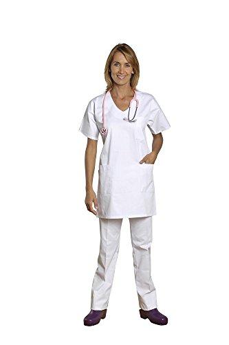 Holtex WATL07_ 94Marinière abbigliamento uomo twill, Atlantic, scollo a V, a maniche corte, bianco, taglia 4