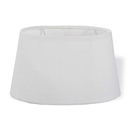 DRULINE Lampenschirm Stoff Textil Leinen Shabby Chic Landhaus Lampe Schirm Stoff E27 OVAL - WEI? - Uni