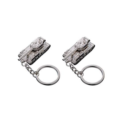 SUPVOX 2 pezzi 3d portachiavi serbatoio modello carro armato portachiavi giocattolo per compleanno regali di natale adulti bambini (argento)