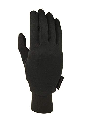 Extremites - Guante de Seda Unisex, Talla XL, Color Negro