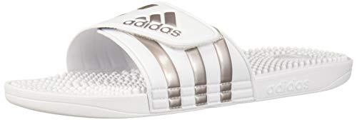 adidas Adissage Sandal, White/Platinum Metallic/White, 7 Medium US