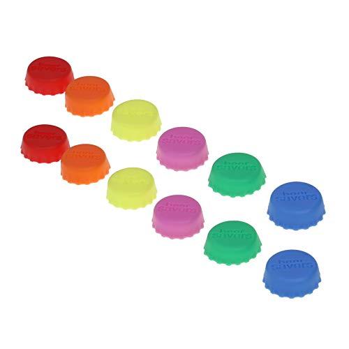 60er Pack Silikon– Kronkorken, Beer Saver, Bier–Kapsel, Flaschenverschluss, Deckel für Flasche, Wein– und Saftflasche, Verschluss, Deckel(Farbe:rosa, gelb, orange, grün, rot, blau)