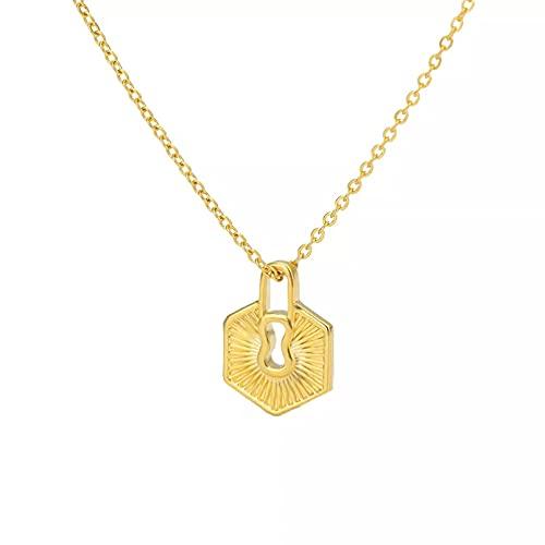 Collar Colgante Collar de acero inoxidable para mujer clásico gran oferta minimalista hexagonal geométrico simple joyería de uso diario Collar amistad Aniversario San Valentín Cumpleaños Regalo
