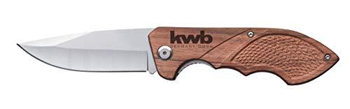 KWB Jagdmesser mit Holzgriff 021990 (85 mm Klinge aus rostfreiem Edelstahl, mit Gürtelclip), 1 Stück,