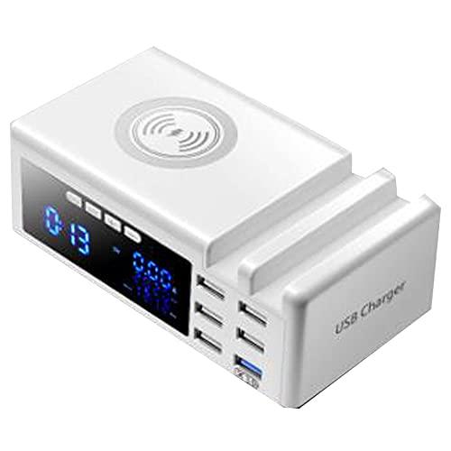 CareMont Cargador InaláMbrico RáPido LCD Qi de 6 Puertos Cargador USB 3.0 con Soporte Cargador RáPido PortáTil QC 3.0, Blanco, Enchufe de la UE