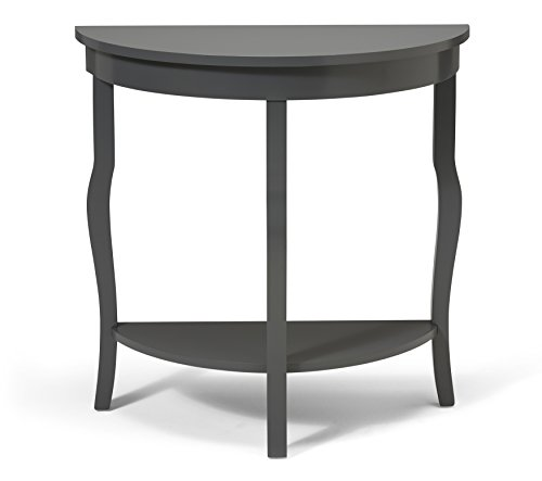 Kate and Laurel Lillian Half Moon Wood Console Table with Curved Legs and Shelf, Gray