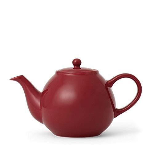 Teekanne Porzellan mit Henkel Tropffrei, inklusiv Sieb für losen Tee, modernen Design, 0,8 Liter, Rot