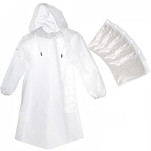 Cosowe Rain Ponchos Disposable for Adults and Kids, 5 Pack Clear Raincoats with Hood Drawstring and Sleeves, Plastic Emergency Family Ponchos for Disney Travel Camping Hiking Outdoor
